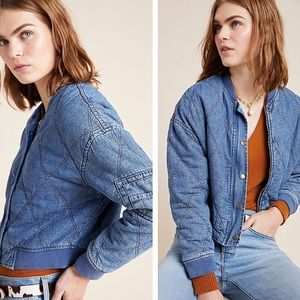 NWT Anthropologie Lindy Quilted Denim Jacket